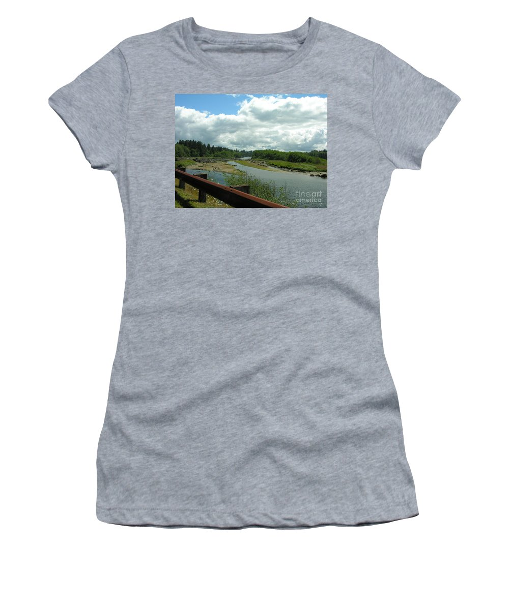 Rail Women's T-Shirt (Athletic Fit) featuring the photograph Washinton Coast 2 by Diane Greco-Lesser