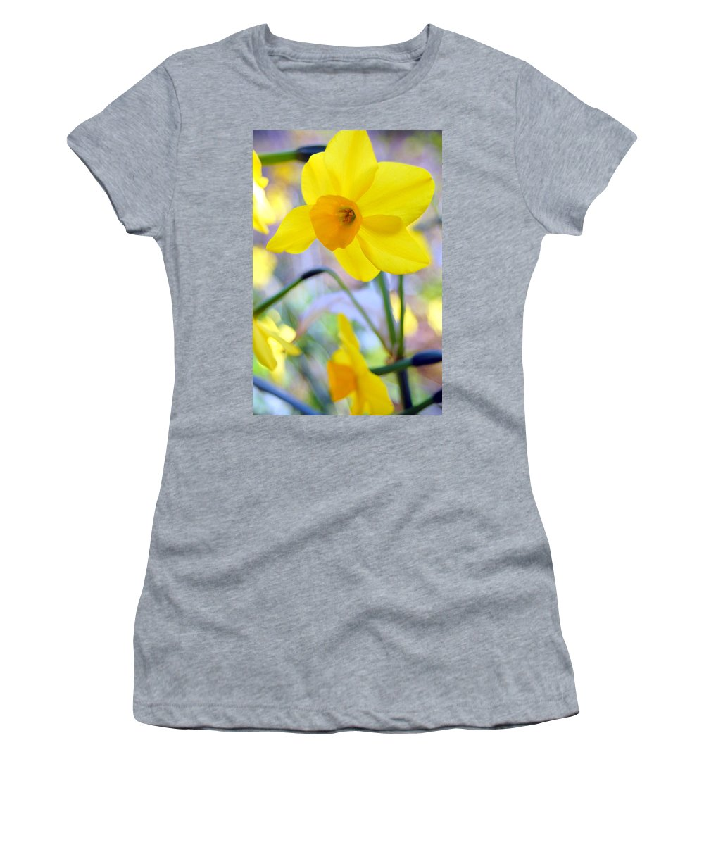 Daffodil Women's T-Shirt (Athletic Fit) featuring the photograph Water Color Daffodil by Amy Fose