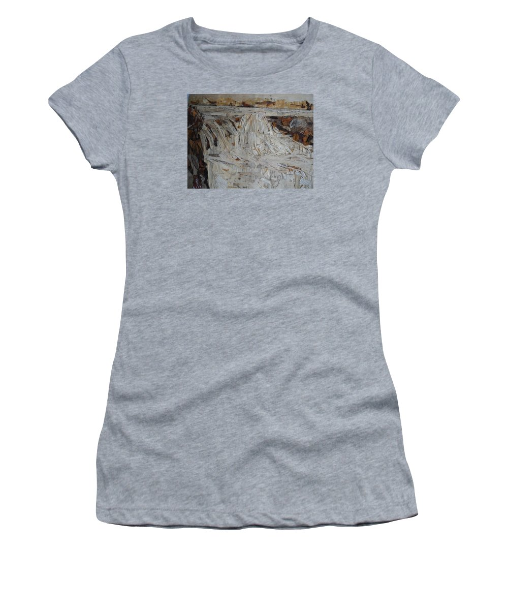 Water Fall Women's T-Shirt (Athletic Fit) featuring the mixed media Water-fall After Rainy Season by Basant Soni