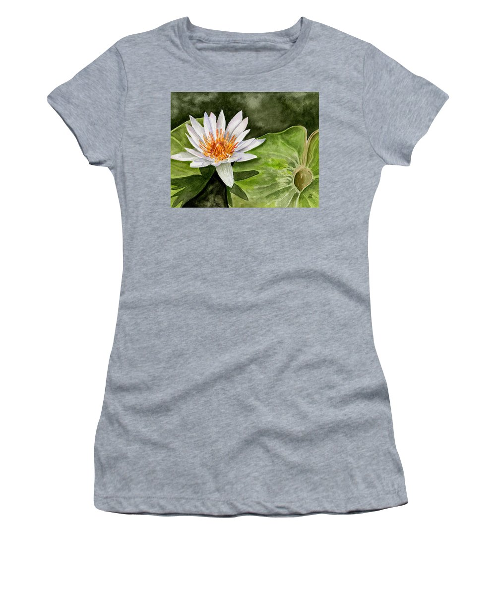 Flower Floral Water Lily Watercolor Women's T-Shirt (Athletic Fit) featuring the painting Water Lily by Brenda Owen