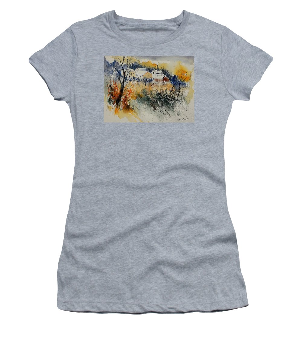 Landscape Women's T-Shirt featuring the painting Watercolor 011071 by Pol Ledent