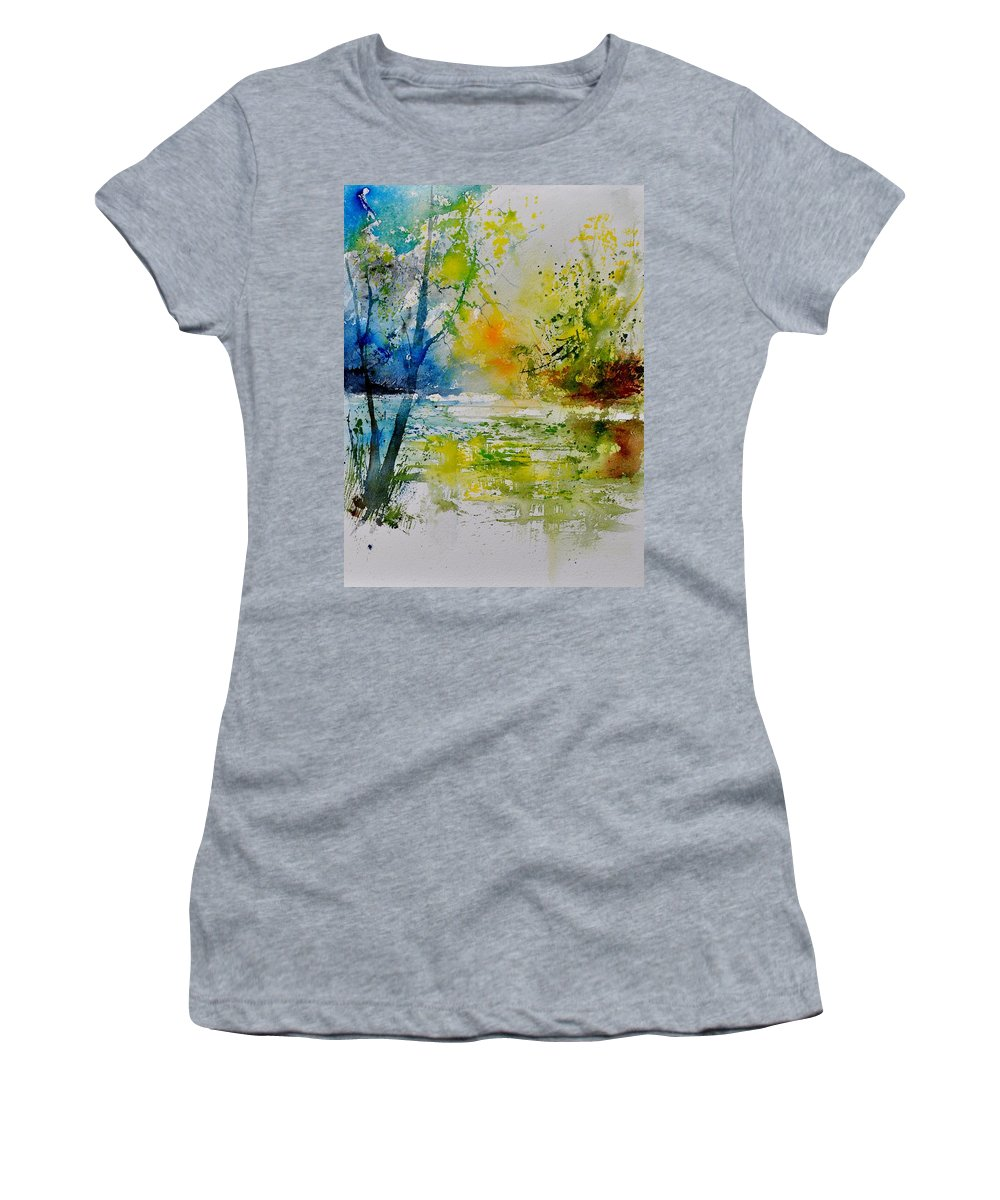 Pond Women's T-Shirt (Athletic Fit) featuring the painting Watercolor 015003 by Pol Ledent