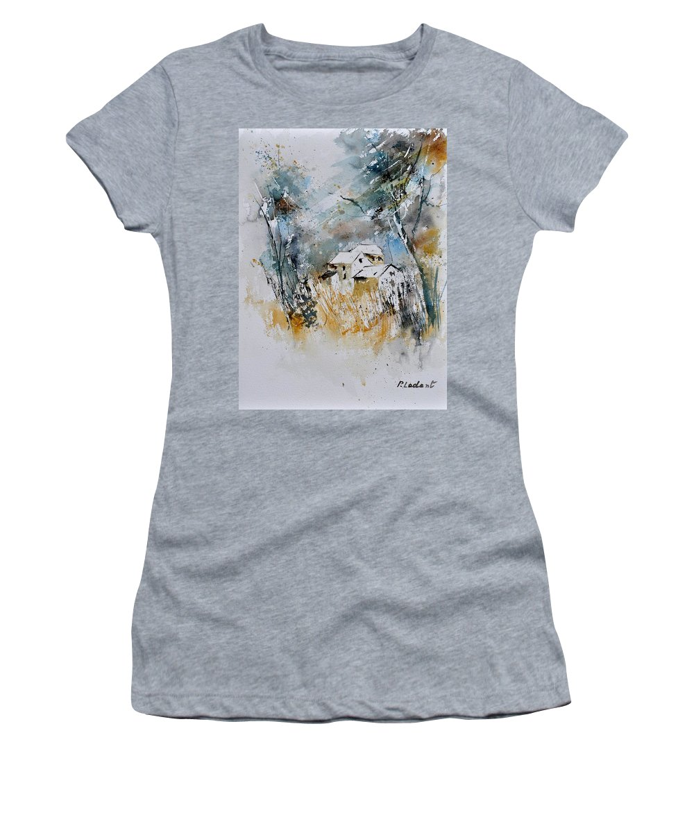 Landscape Women's T-Shirt featuring the painting Watercolor 015060 by Pol Ledent