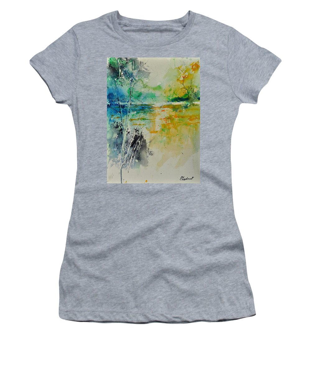 Pond Women's T-Shirt featuring the painting Watercolor 018080 by Pol Ledent