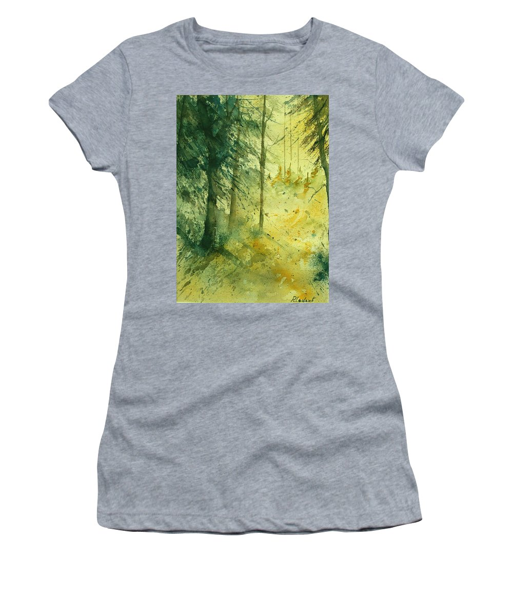 Tree Women's T-Shirt (Athletic Fit) featuring the painting Watercolor 030106 by Pol Ledent