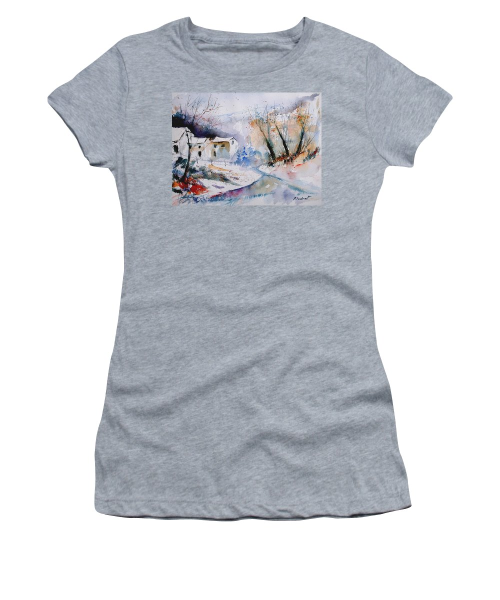 Winter Women's T-Shirt (Athletic Fit) featuring the painting Watercolor 050408 by Pol Ledent