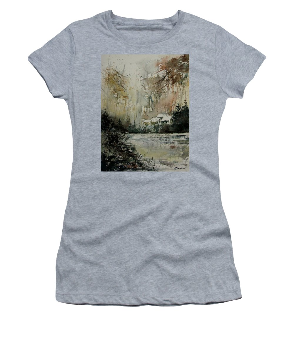Landscape Women's T-Shirt (Athletic Fit) featuring the painting Watercolor 070608 by Pol Ledent