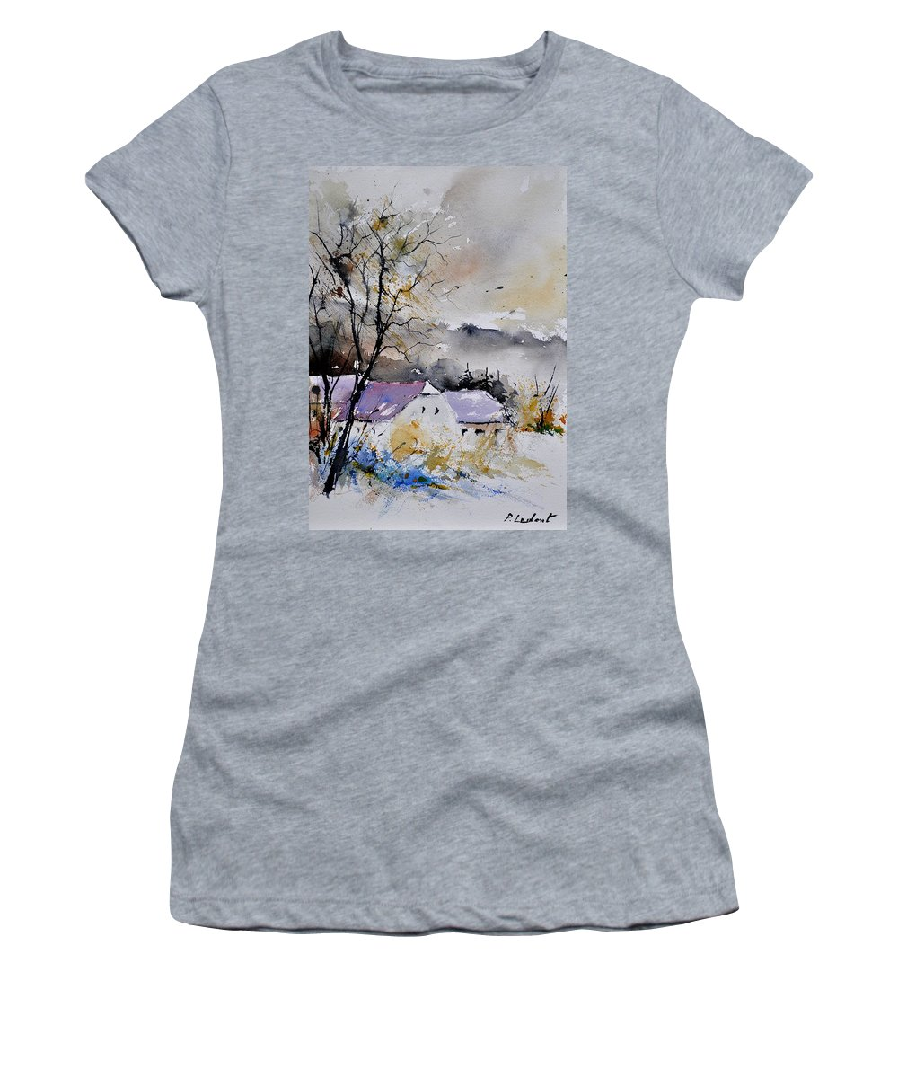 Landscape Women's T-Shirt featuring the painting Watercolor 112012 by Pol Ledent