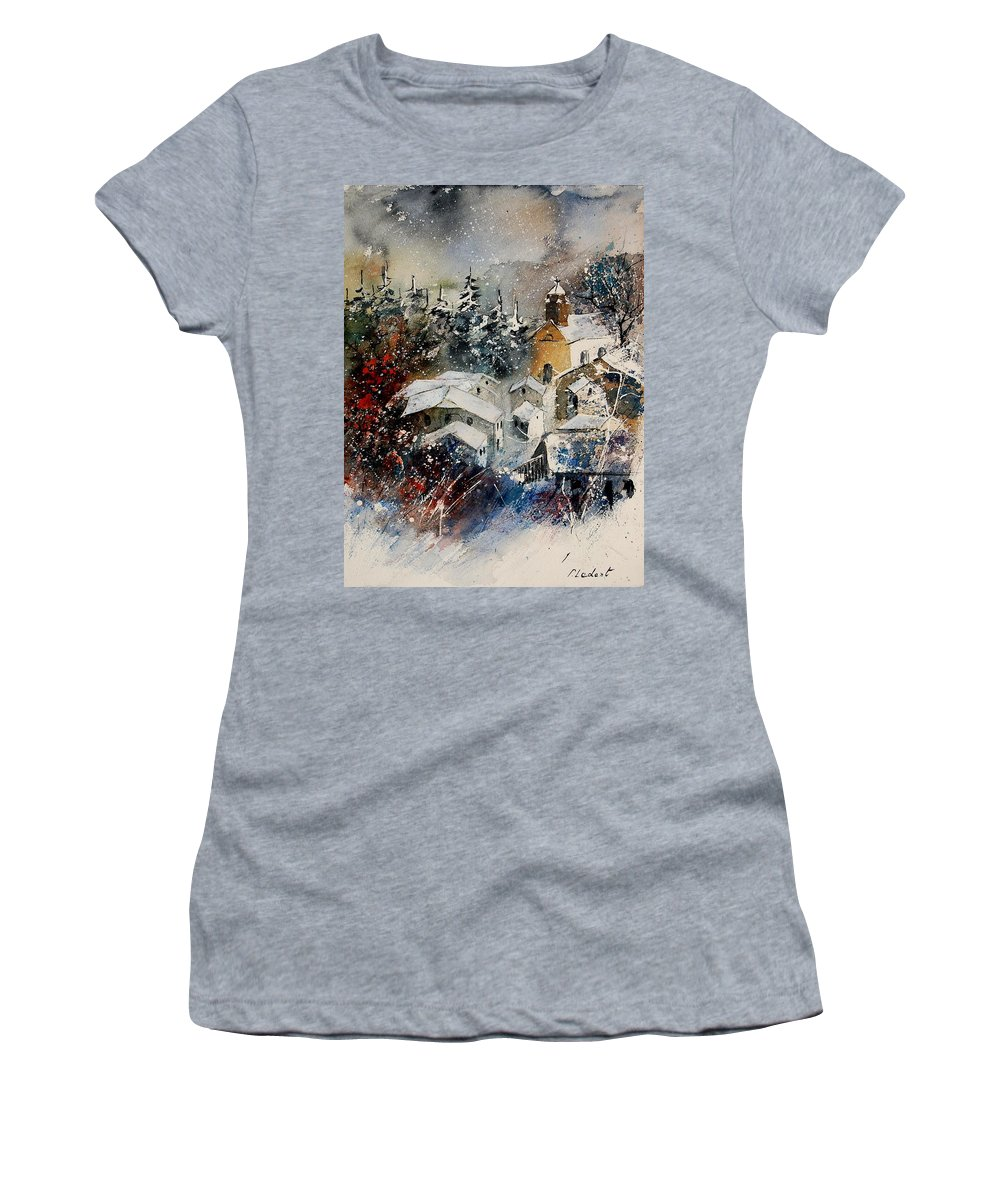 Winter Women's T-Shirt (Athletic Fit) featuring the painting Watercolor 160908 by Pol Ledent