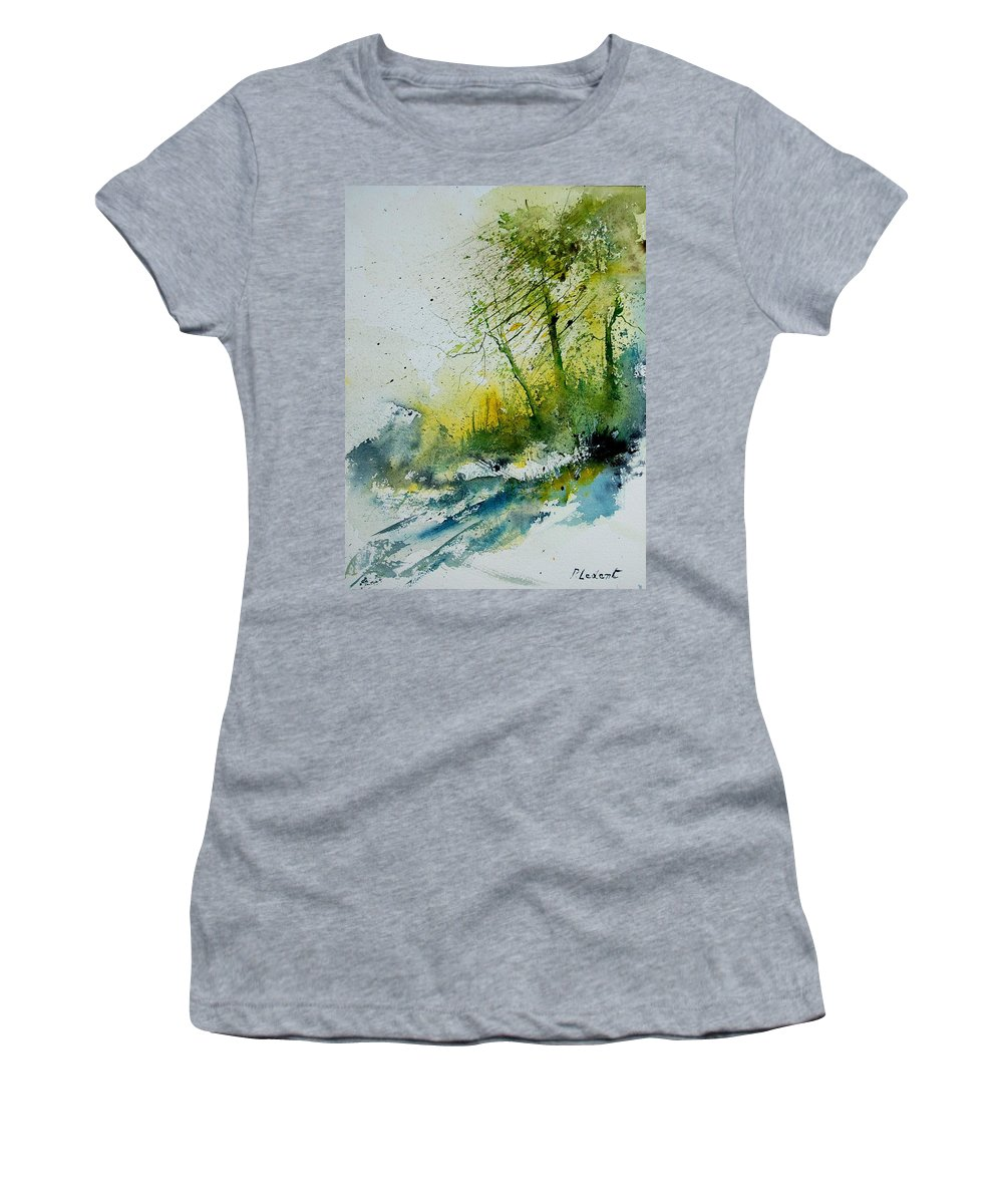 River Women's T-Shirt (Athletic Fit) featuring the painting Watercolor 181207 by Pol Ledent