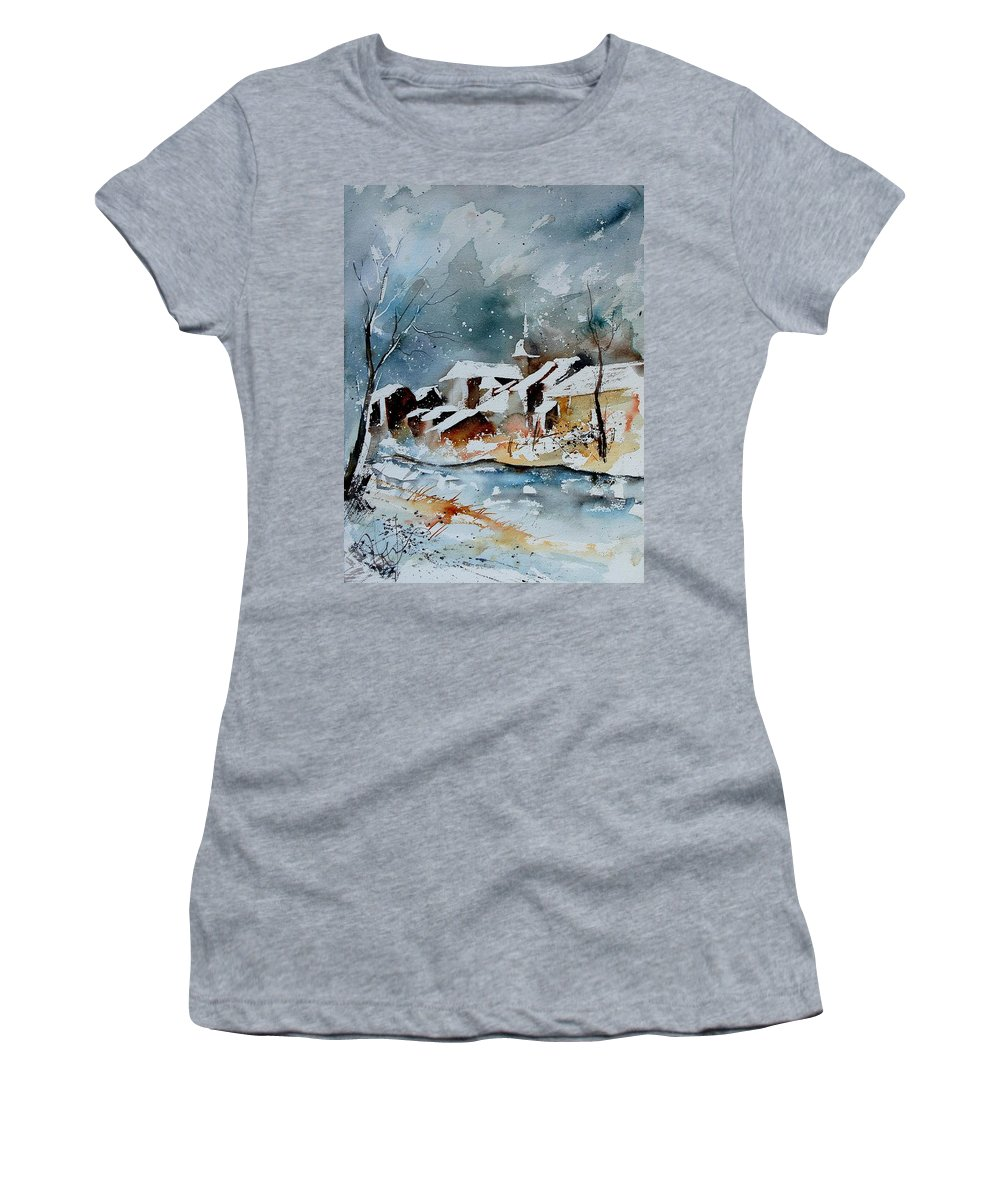 Winter Women's T-Shirt (Athletic Fit) featuring the painting Watercolor 190607 by Pol Ledent