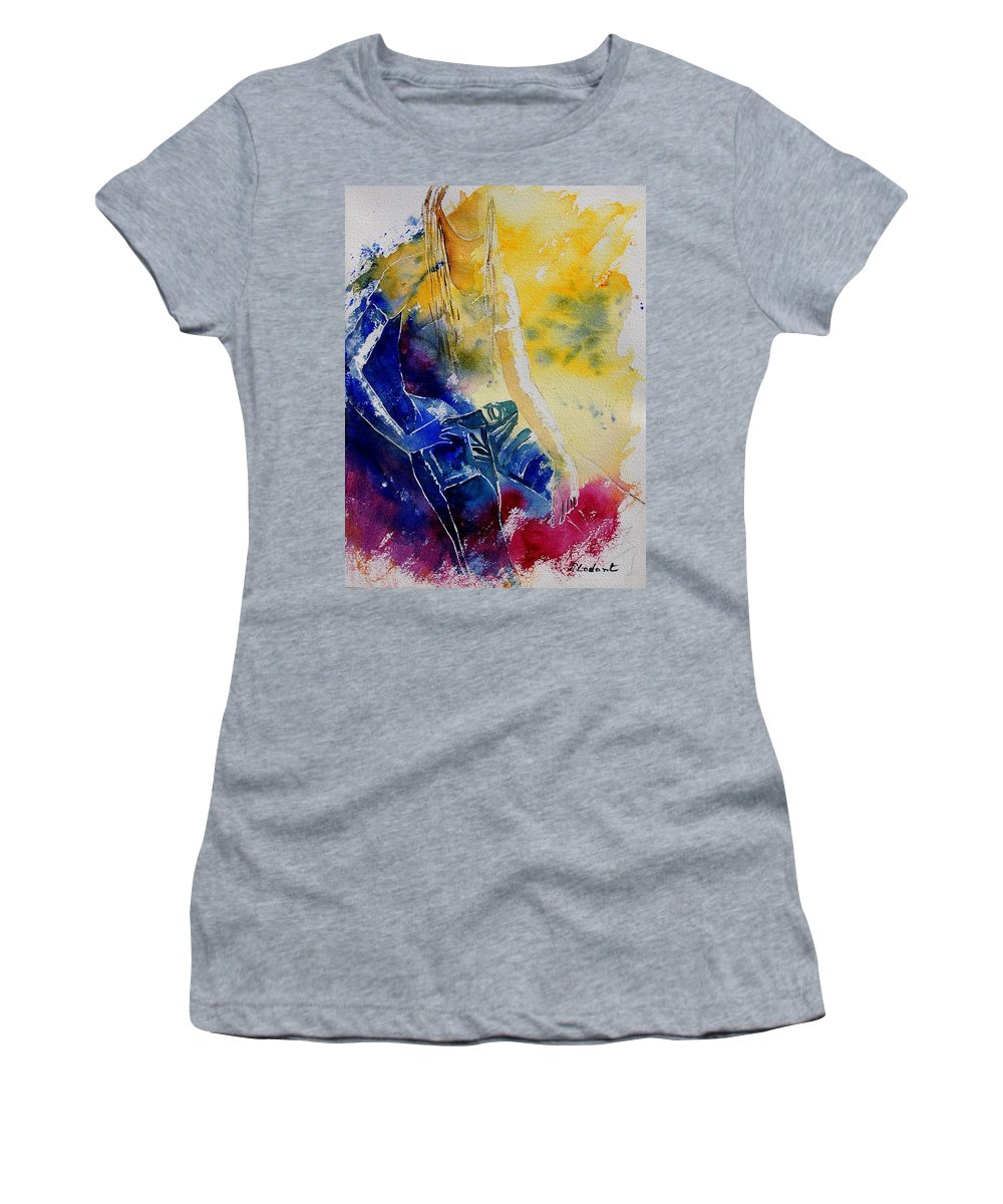 Girl Nude Women's T-Shirt (Athletic Fit) featuring the painting Watercolor 21546 by Pol Ledent
