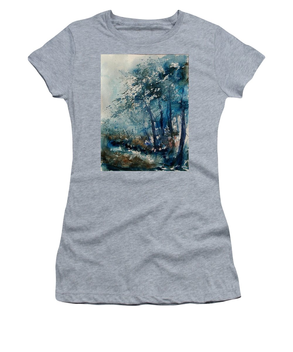 Winter Women's T-Shirt (Athletic Fit) featuring the painting Watercolor 220907 by Pol Ledent