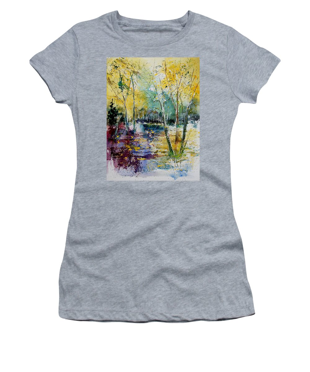 Pond Women's T-Shirt featuring the painting Watercolor 280809 by Pol Ledent