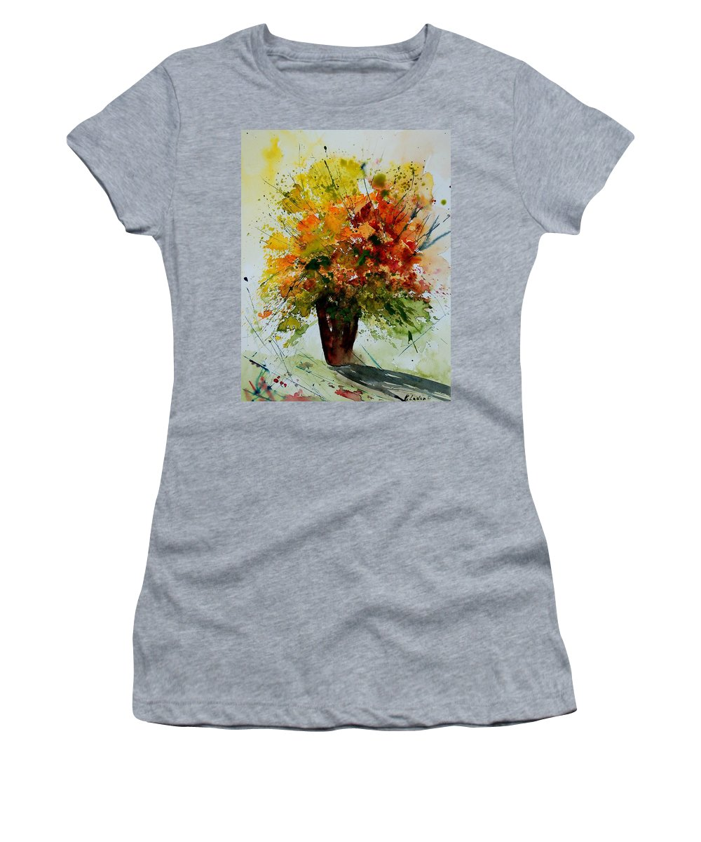 Flowers Women's T-Shirt (Athletic Fit) featuring the painting Watercolor 290806 by Pol Ledent