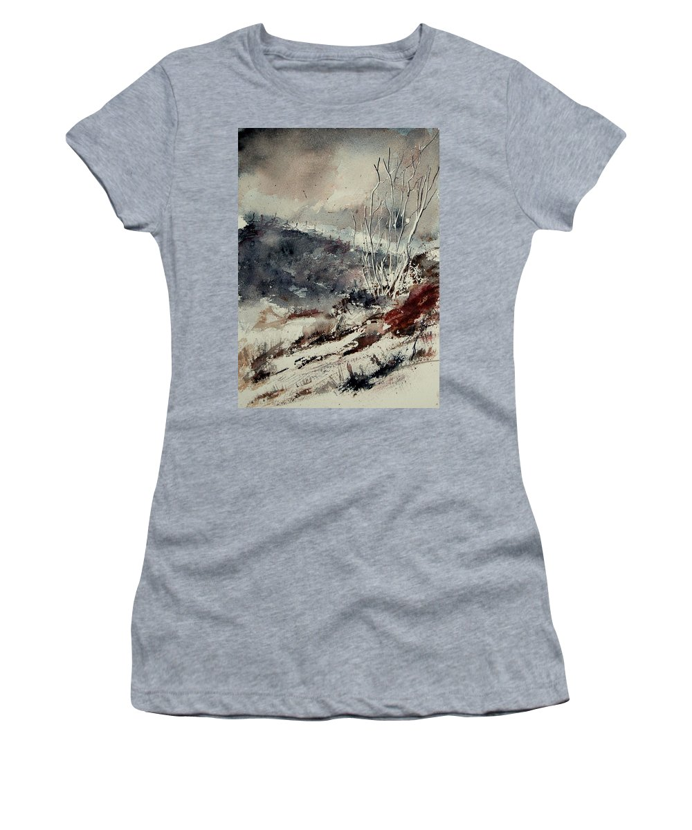 Snow Women's T-Shirt (Athletic Fit) featuring the print Watercolor 446 by Pol Ledent