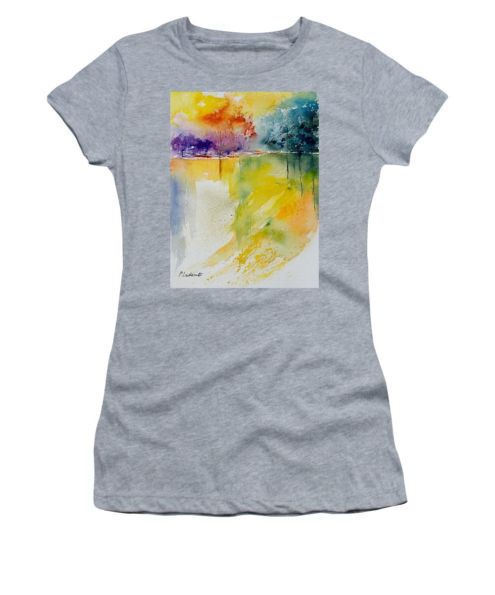 Pond Women's T-Shirt (Athletic Fit) featuring the painting Watercolor 800142 by Pol Ledent