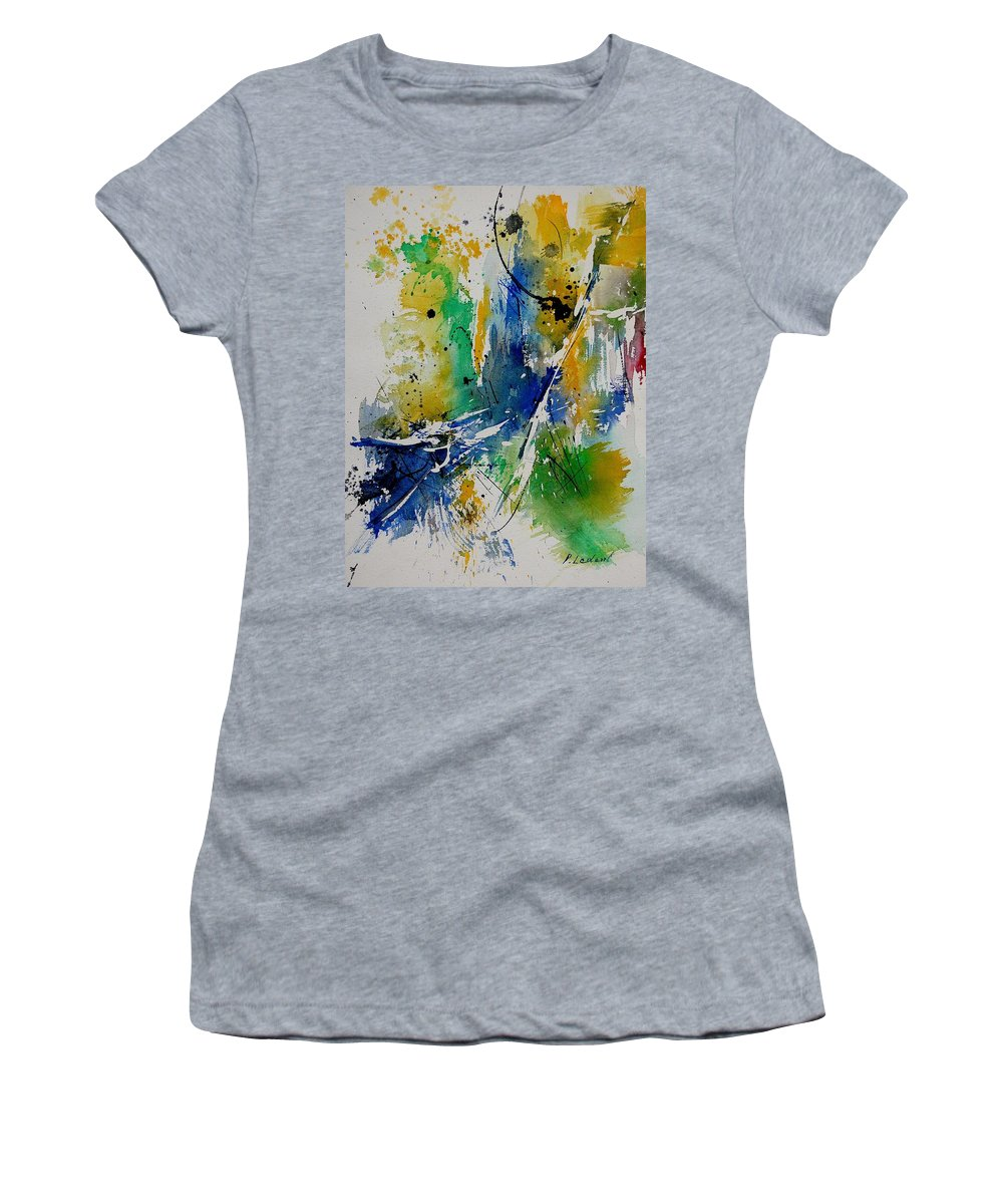 Abstract Women's T-Shirt (Athletic Fit) featuring the painting Watercolor 902180 by Pol Ledent