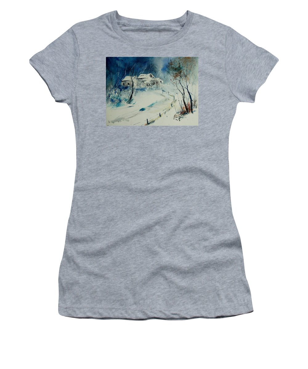 Winter Women's T-Shirt (Athletic Fit) featuring the painting Watercolor 905001 by Pol Ledent