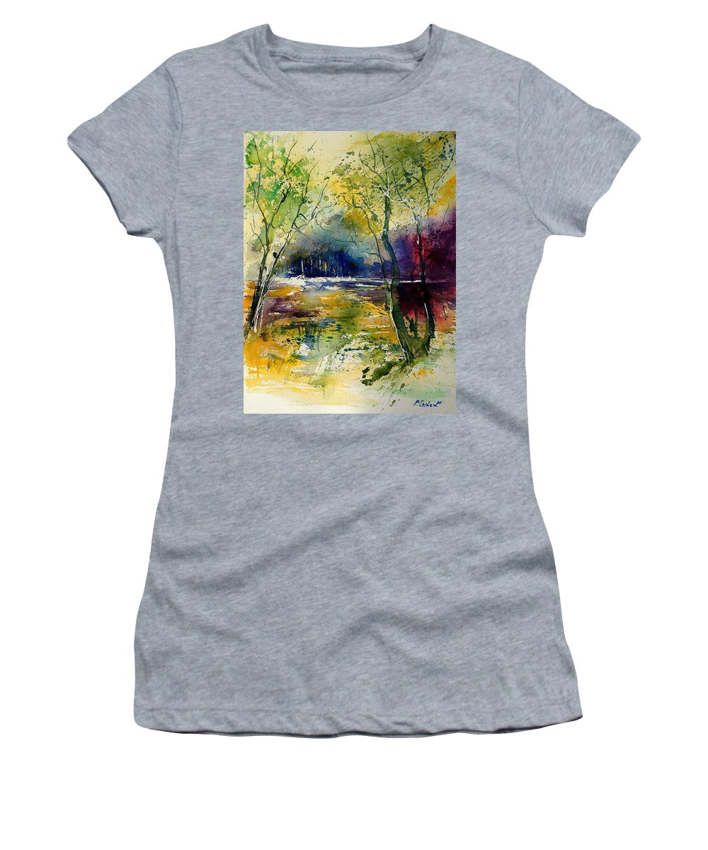 River Women's T-Shirt (Athletic Fit) featuring the painting Watercolor 908010 by Pol Ledent