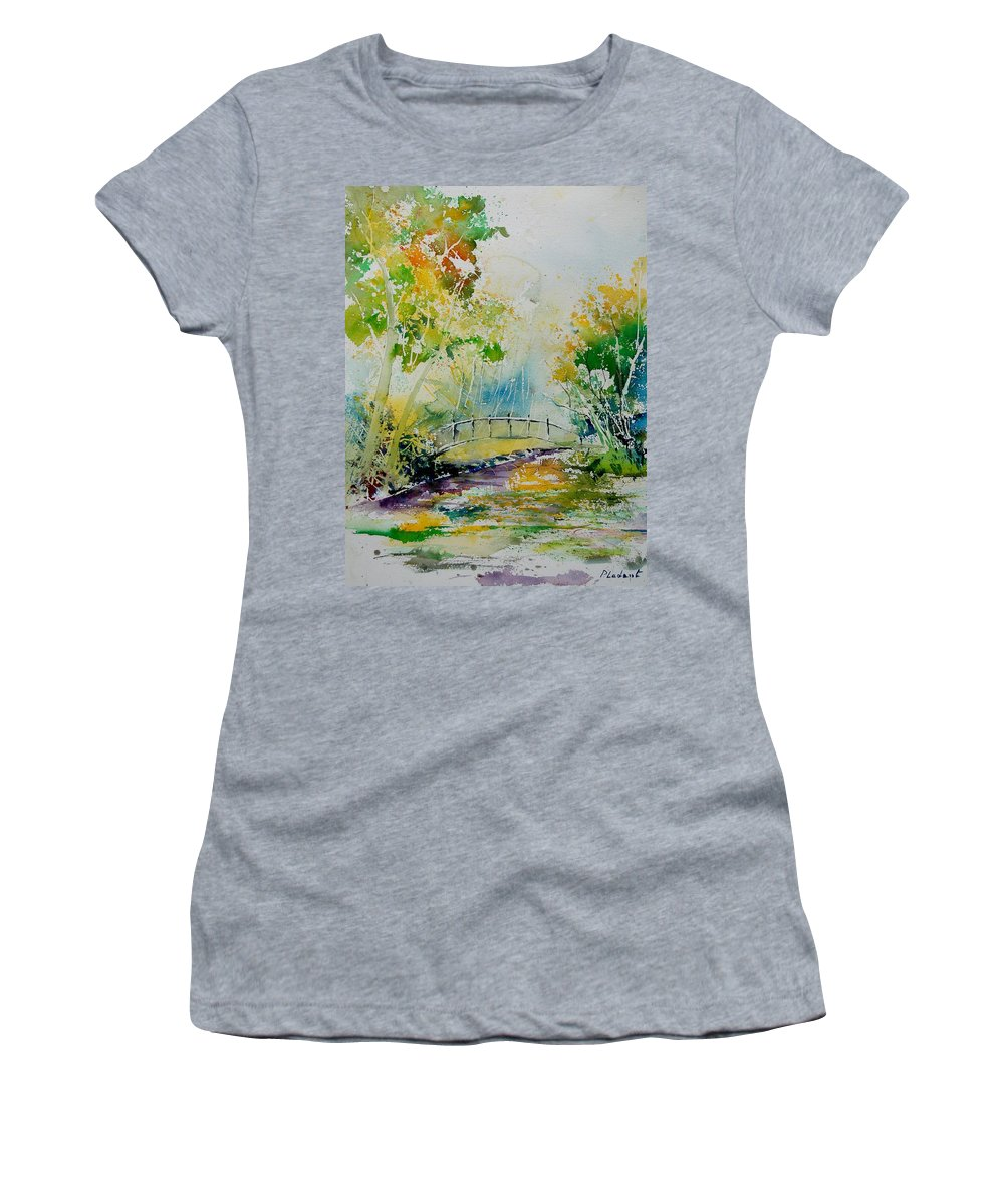 Water Women's T-Shirt (Athletic Fit) featuring the painting Watercolor 908020 by Pol Ledent