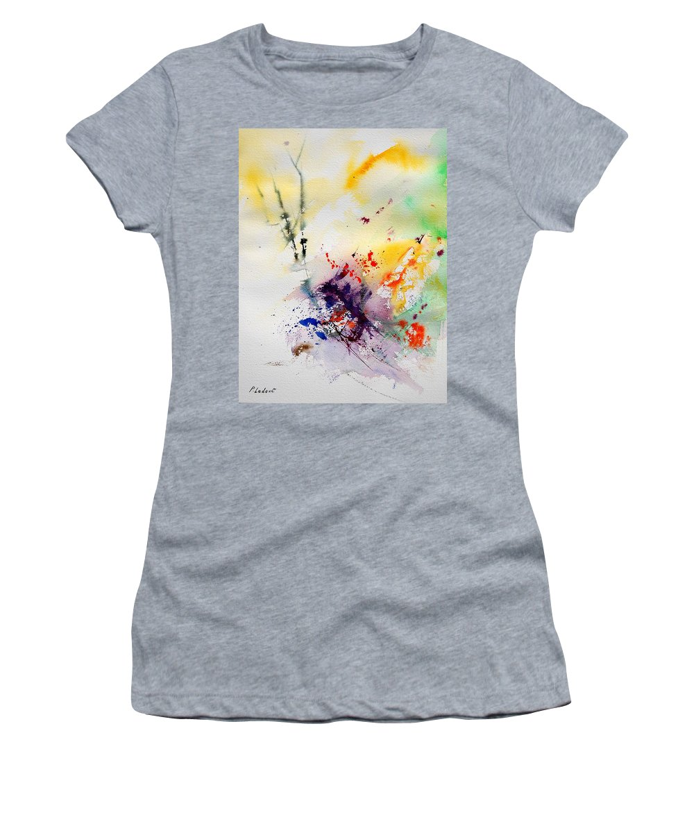 Abstract Women's T-Shirt (Athletic Fit) featuring the painting Watercolor 908090 by Pol Ledent