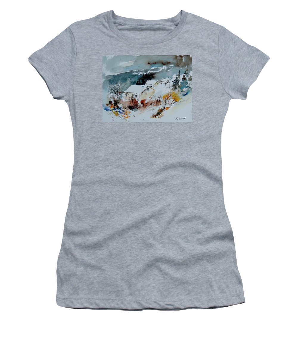 Winter Women's T-Shirt featuring the painting Watercolor 9090723 by Pol Ledent