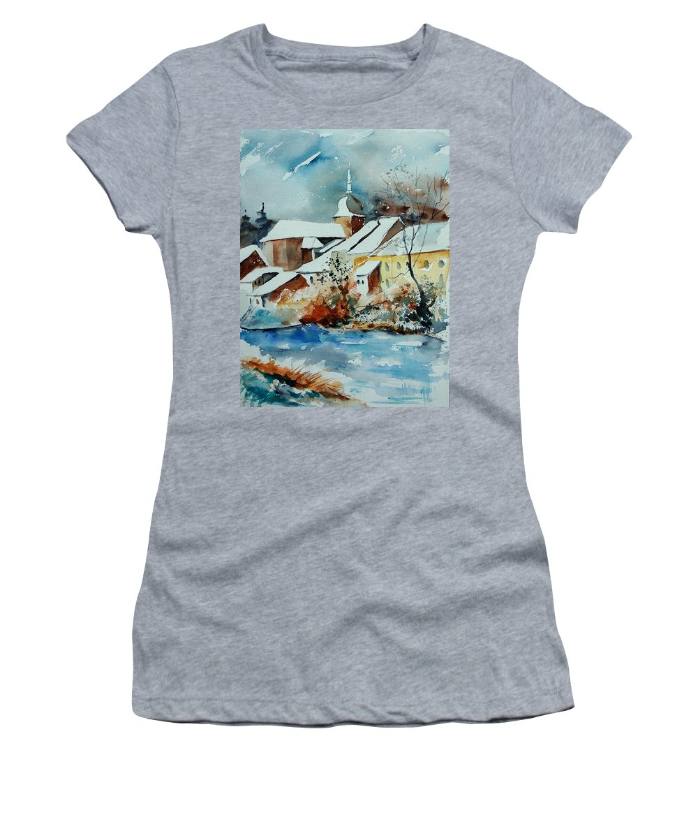 Landscape Women's T-Shirt (Athletic Fit) featuring the painting Watercolor Chassepierre by Pol Ledent