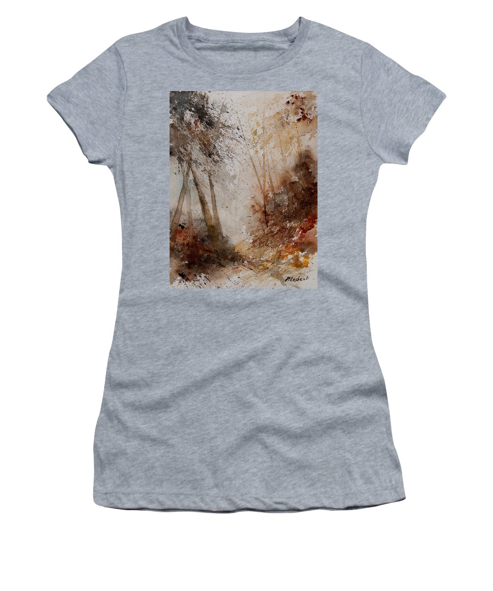 Landscape Women's T-Shirt (Athletic Fit) featuring the painting Watercolor Misty Path by Pol Ledent