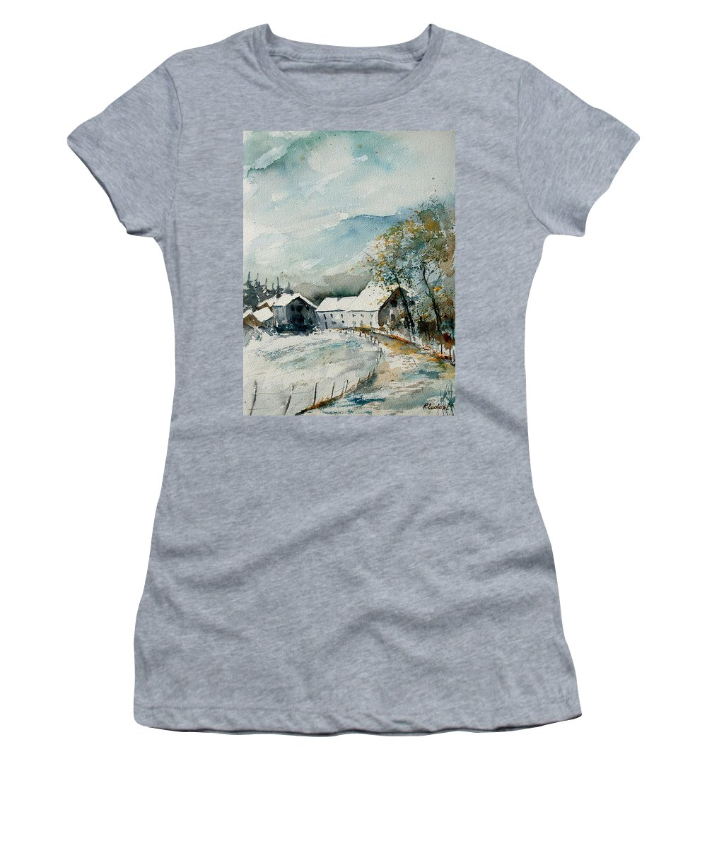 River Women's T-Shirt featuring the painting Watercolor Sechery 1207 by Pol Ledent