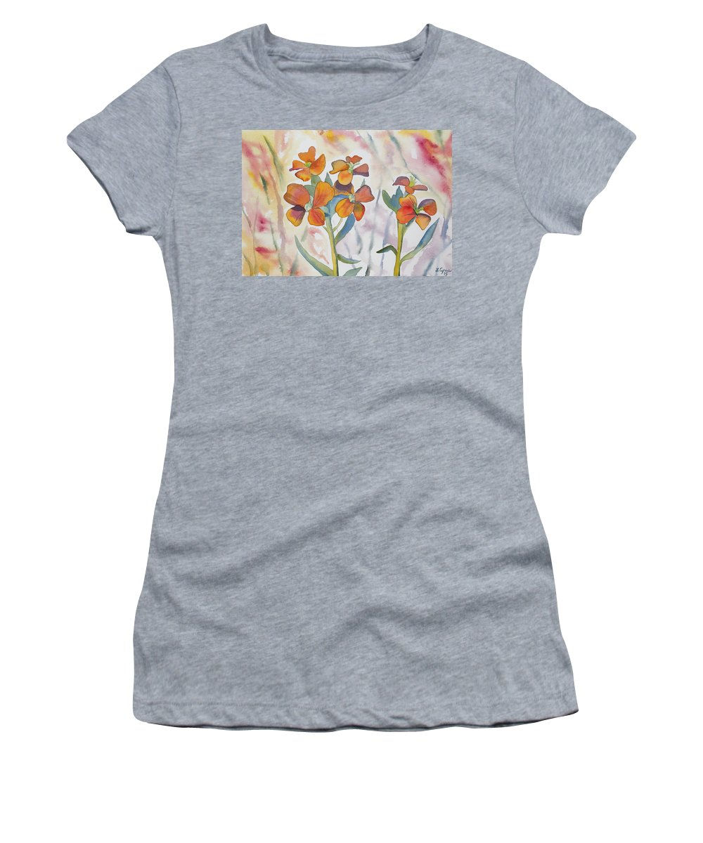 Wallflower Women's T-Shirt featuring the painting Watercolor - Wallflower Wildflowers by Cascade Colors