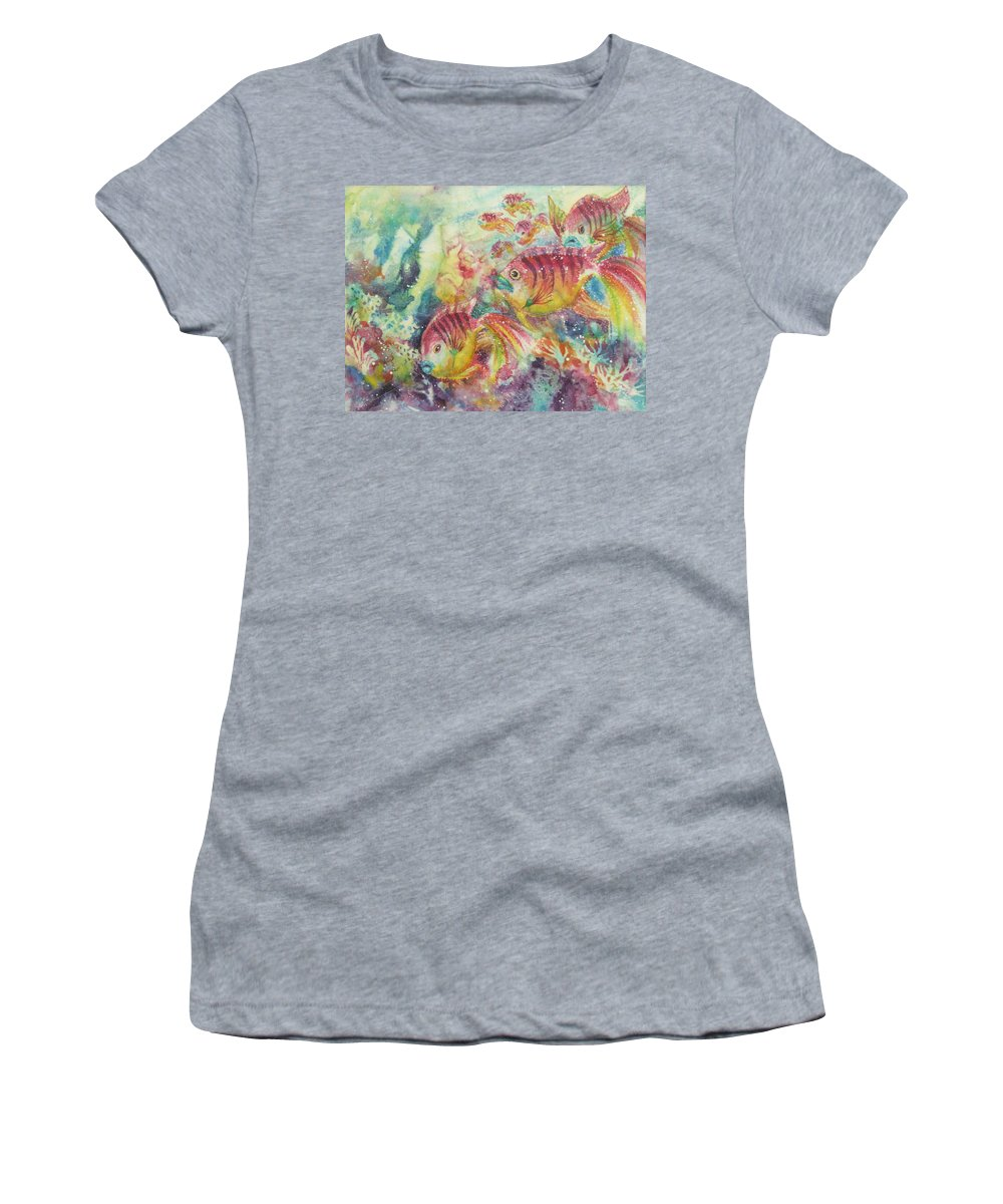 Fish Women's T-Shirt (Athletic Fit) featuring the painting Watery World 2 by Deborah Younglao