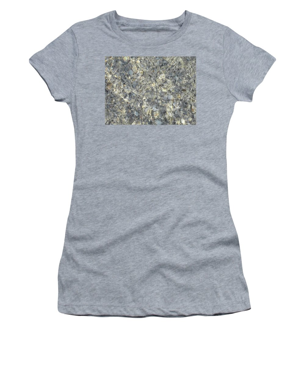 Sea Shells Women's T-Shirt (Athletic Fit) featuring the photograph Wave Over Shells by Shannon Turek