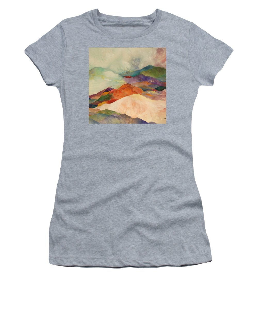 Watercolor Women's T-Shirt (Athletic Fit) featuring the painting Waves by Peggy Guichu