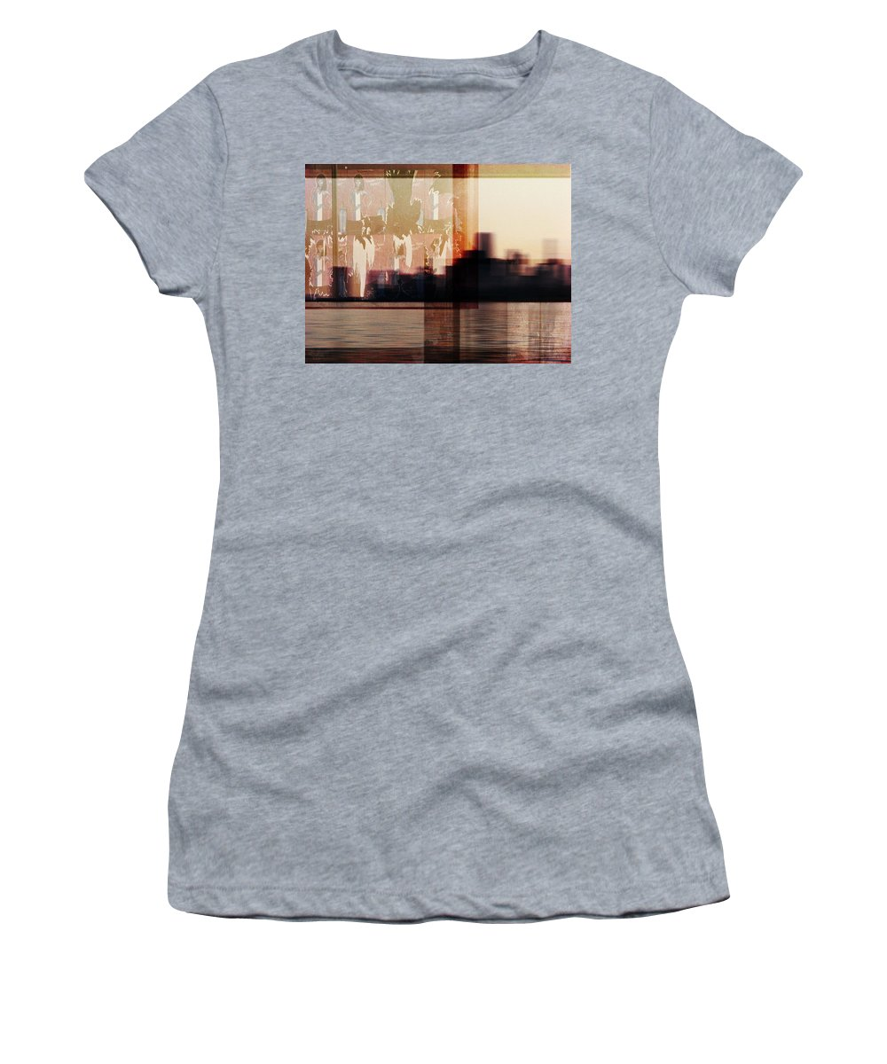 Dipasquale Women's T-Shirt (Athletic Fit) featuring the photograph We Almost Missed Our Stop On The Train And Ran To Get Off by Dana DiPasquale