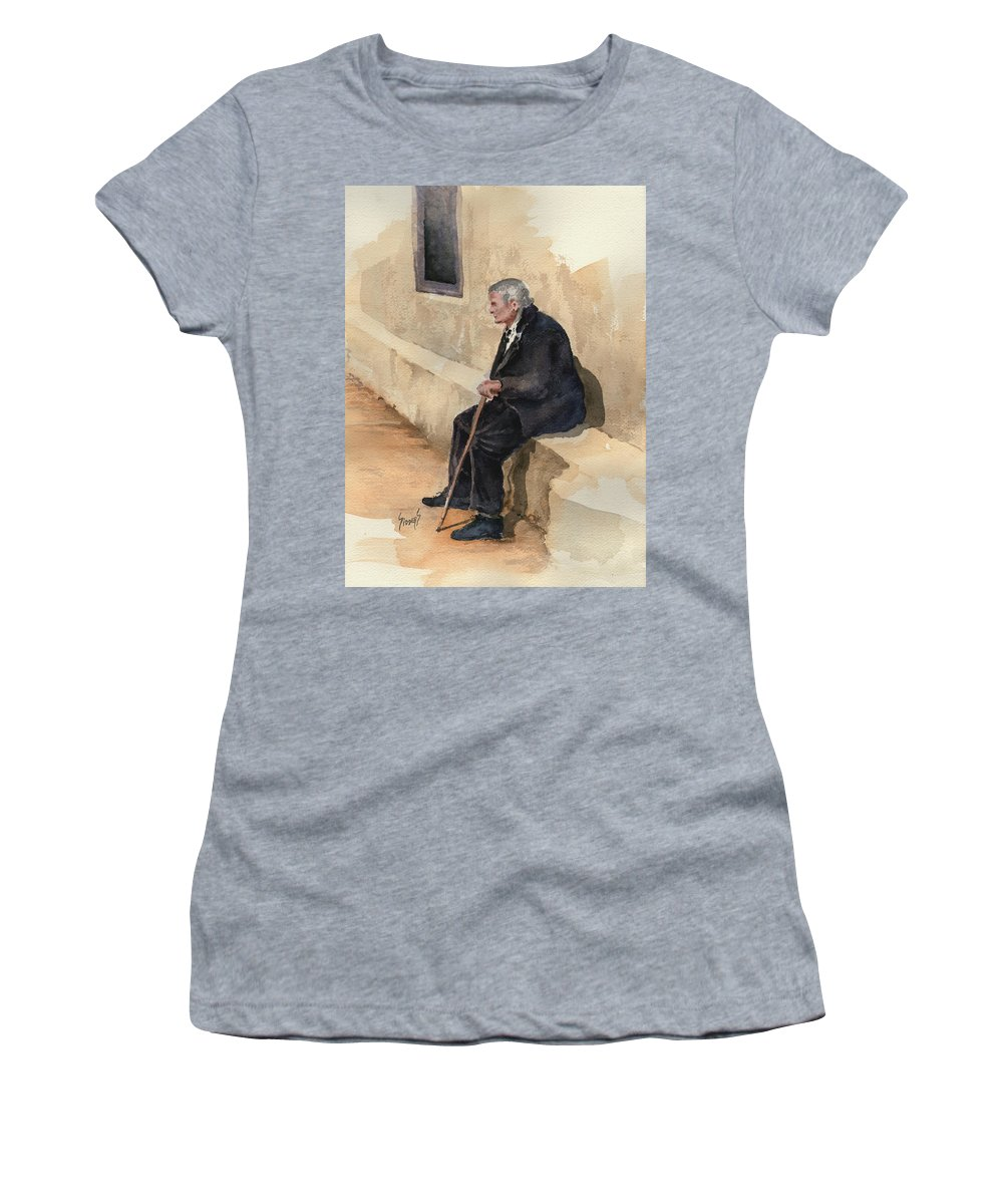 Old Women's T-Shirt (Athletic Fit) featuring the painting Weary by Sam Sidders