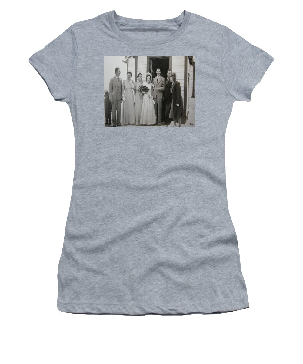 Classic Wedding Old Fashioned 1950s Wedding Dress Bride Groom Church Black And White Old Photographs Women's T-Shirt (Athletic Fit) featuring the photograph Wedding Bells by Andrea Lawrence