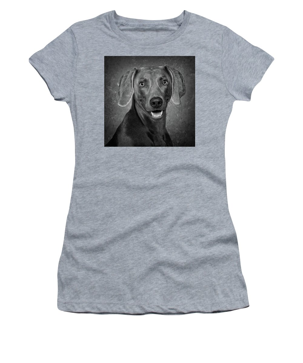 Dog Women's T-Shirt (Athletic Fit) featuring the photograph Weimaraner In Black And White by Greg Mimbs