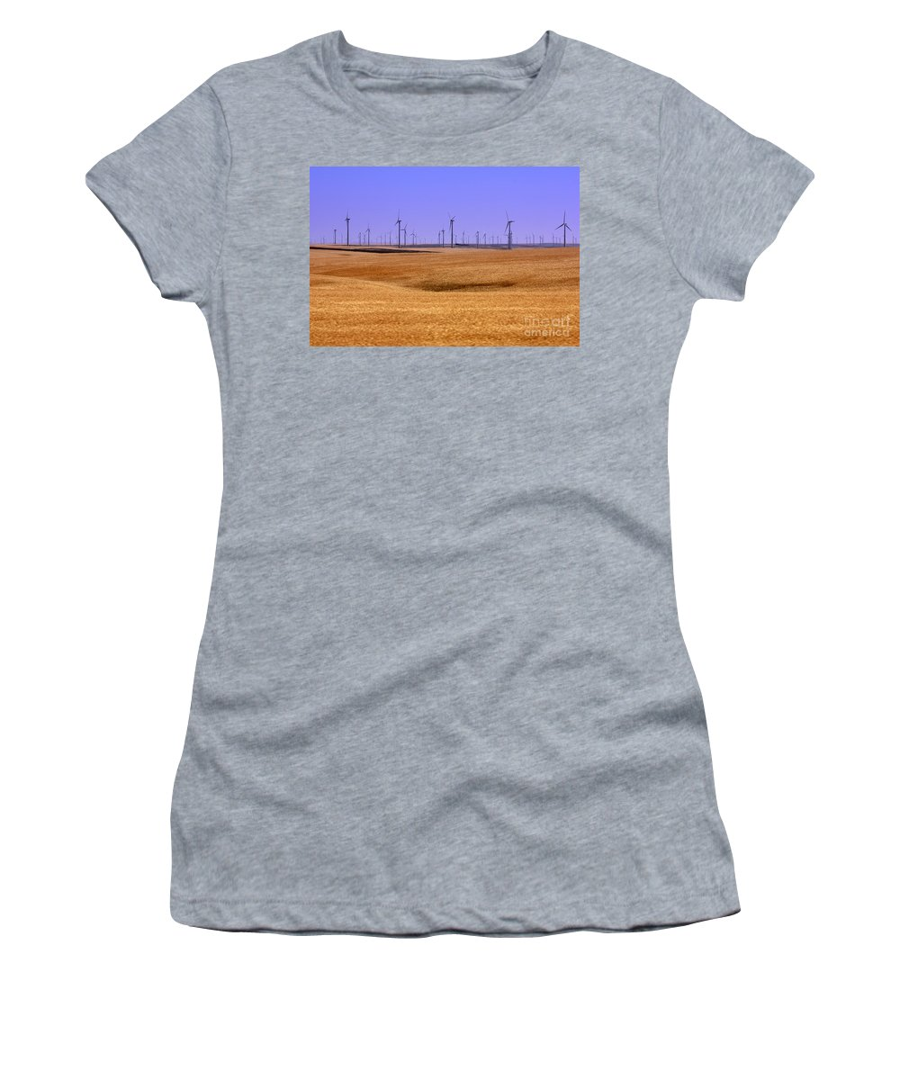Wind Turbines Women's T-Shirt featuring the photograph Wheat Fields And Wind Turbines by Carol Groenen