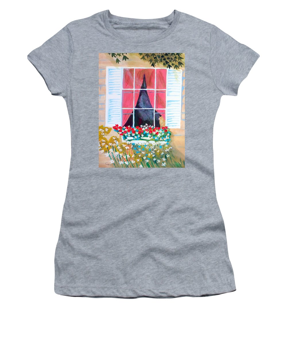 Claudia Thomas Women's T-Shirt (Athletic Fit) featuring the painting Where Are You Charlie by Claudia Thomas