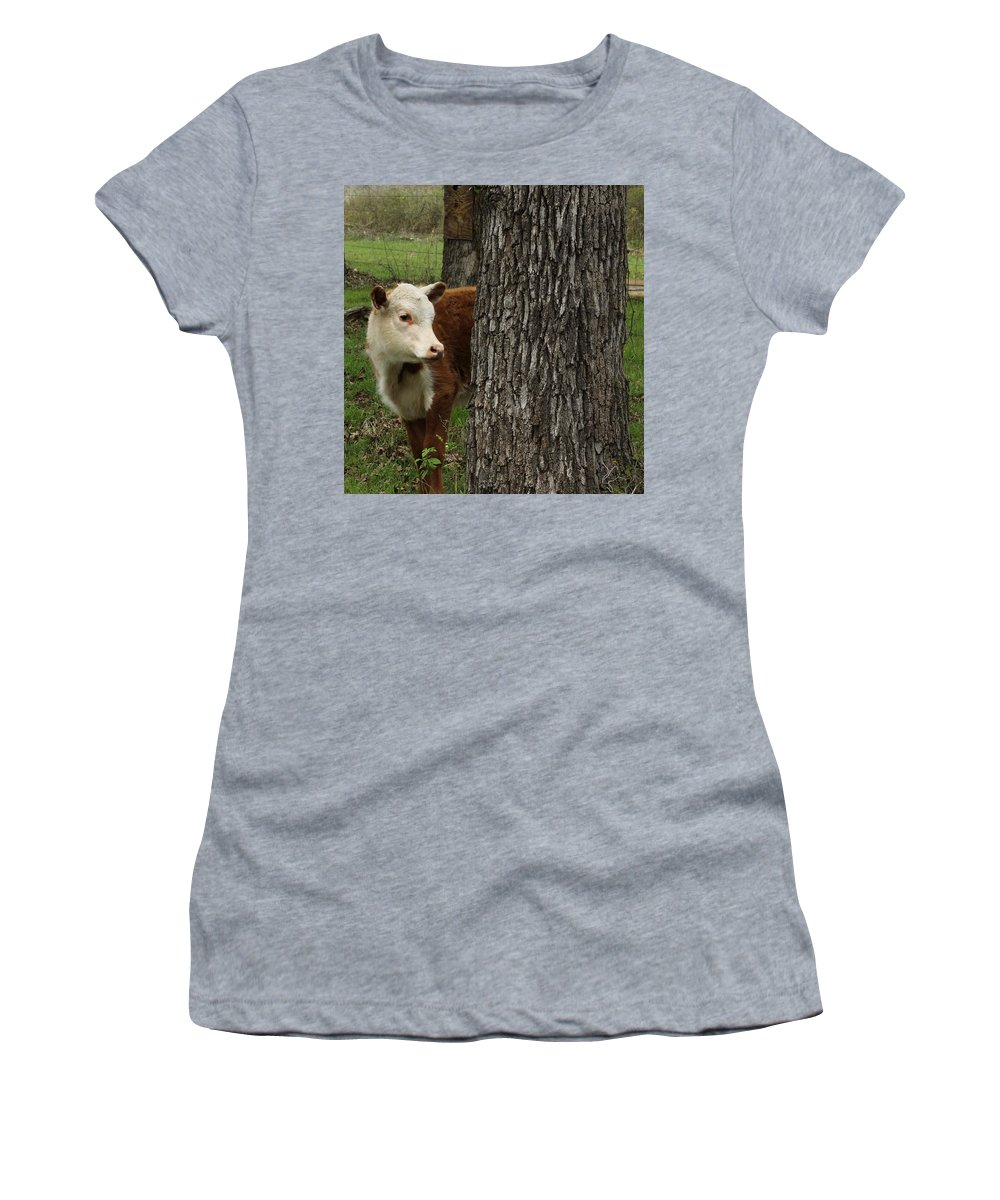 Calf Women's T-Shirt (Athletic Fit) featuring the photograph Where Has Everyone Gone? by Suzette Munson