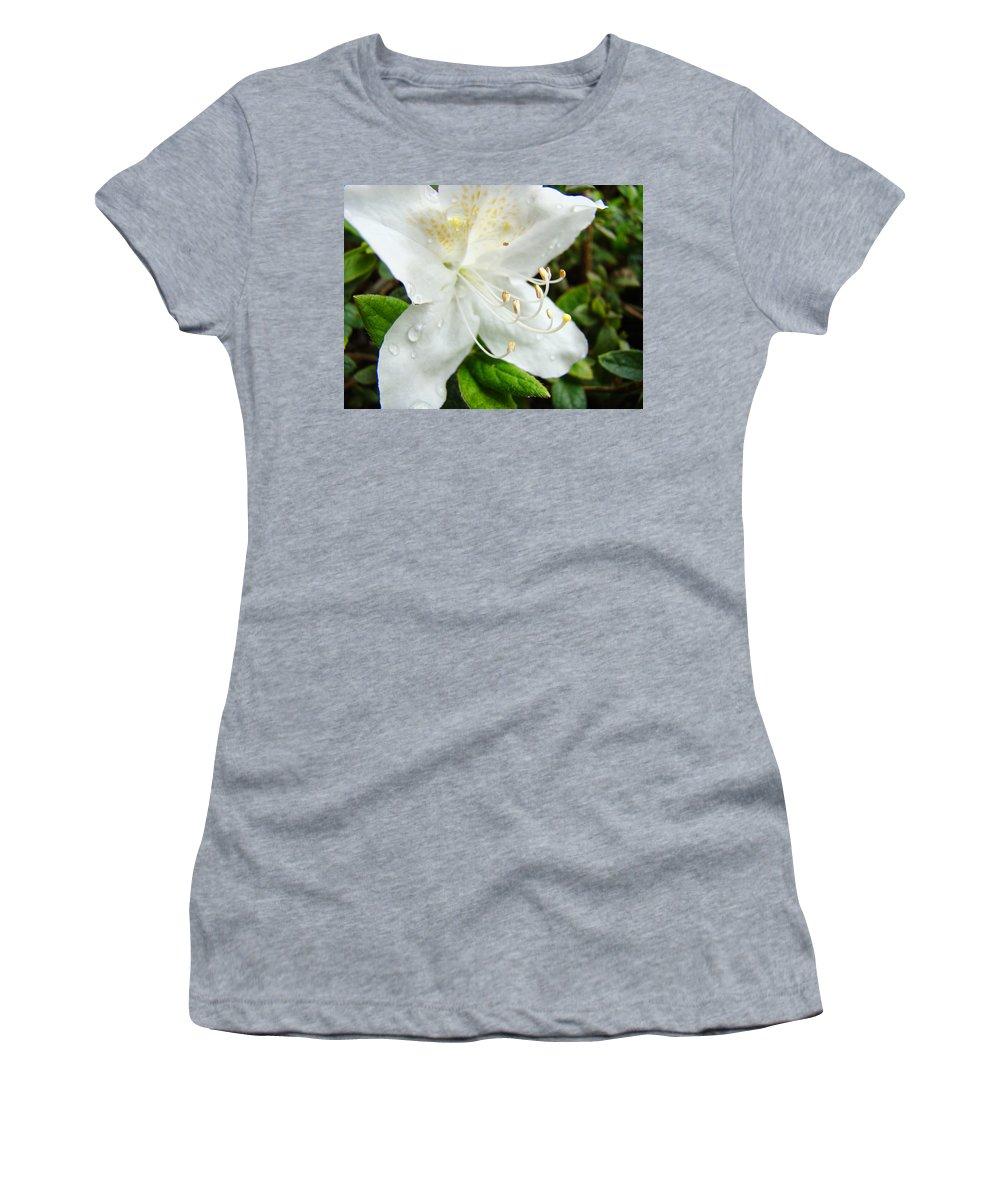 �azaleas Artwork� Women's T-Shirt (Athletic Fit) featuring the photograph White Azalea Flower 9 Azaleas Raindrops Spring Art Prints Baslee Troutman by Baslee Troutman