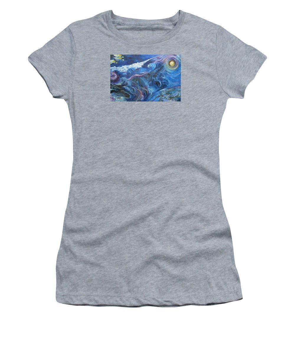 Baby Lambs Women's T-Shirt featuring the painting White Baby Lambs of Peaceful Nights by Karina Ishkhanova