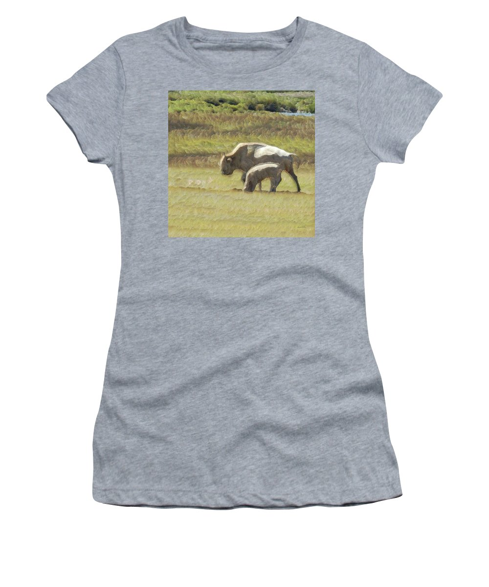 Animals Women's T-Shirt (Athletic Fit) featuring the photograph White Buffalo by Ernie Echols