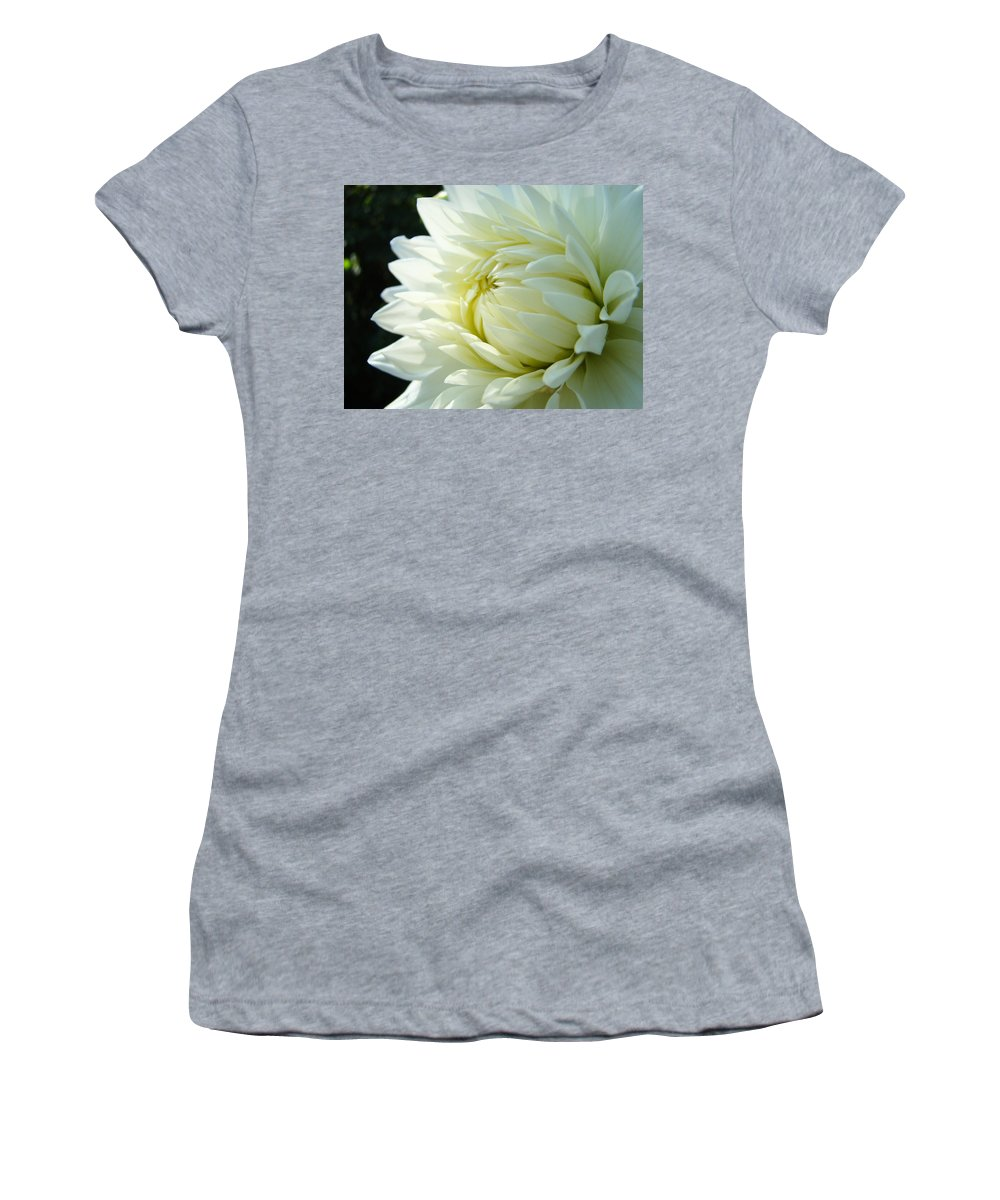 Dahlia Women's T-Shirt featuring the photograph White Dahlia Flower Art Print Canvas Floral Dahlias Baslee Troutman by Baslee Troutman