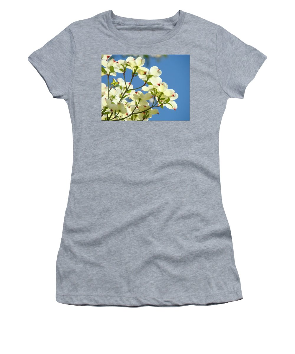 Dogwood Women's T-Shirt (Athletic Fit) featuring the photograph White Dogwood Flowers 1 Blue Sky Landscape Artwork Dogwood Tree Art Prints Canvas Framed by Baslee Troutman
