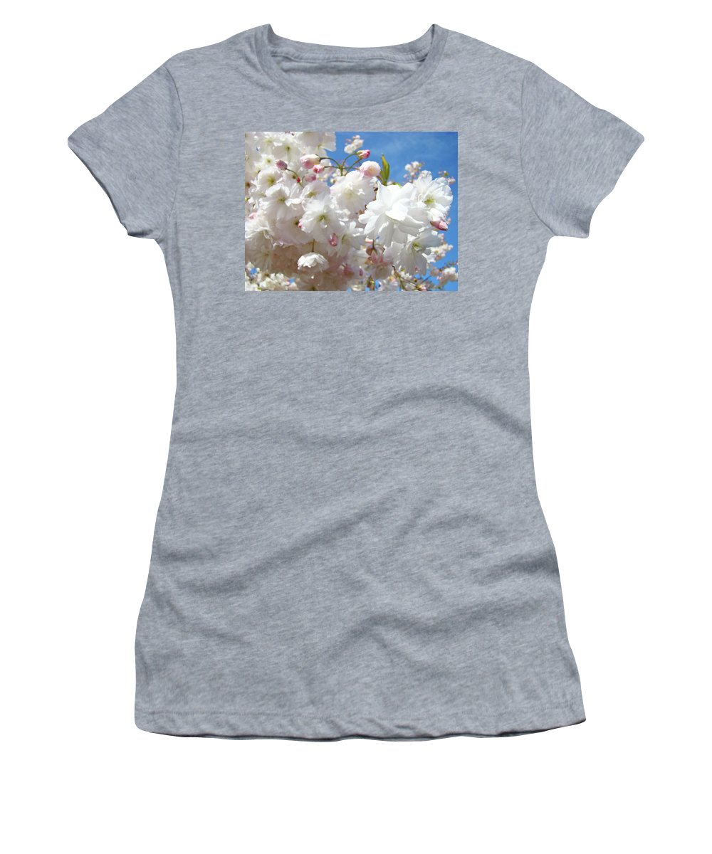 Colorful Women's T-Shirt featuring the photograph White Floral Tree Flower Blossoms Art Baslee Troutman by Baslee Troutman