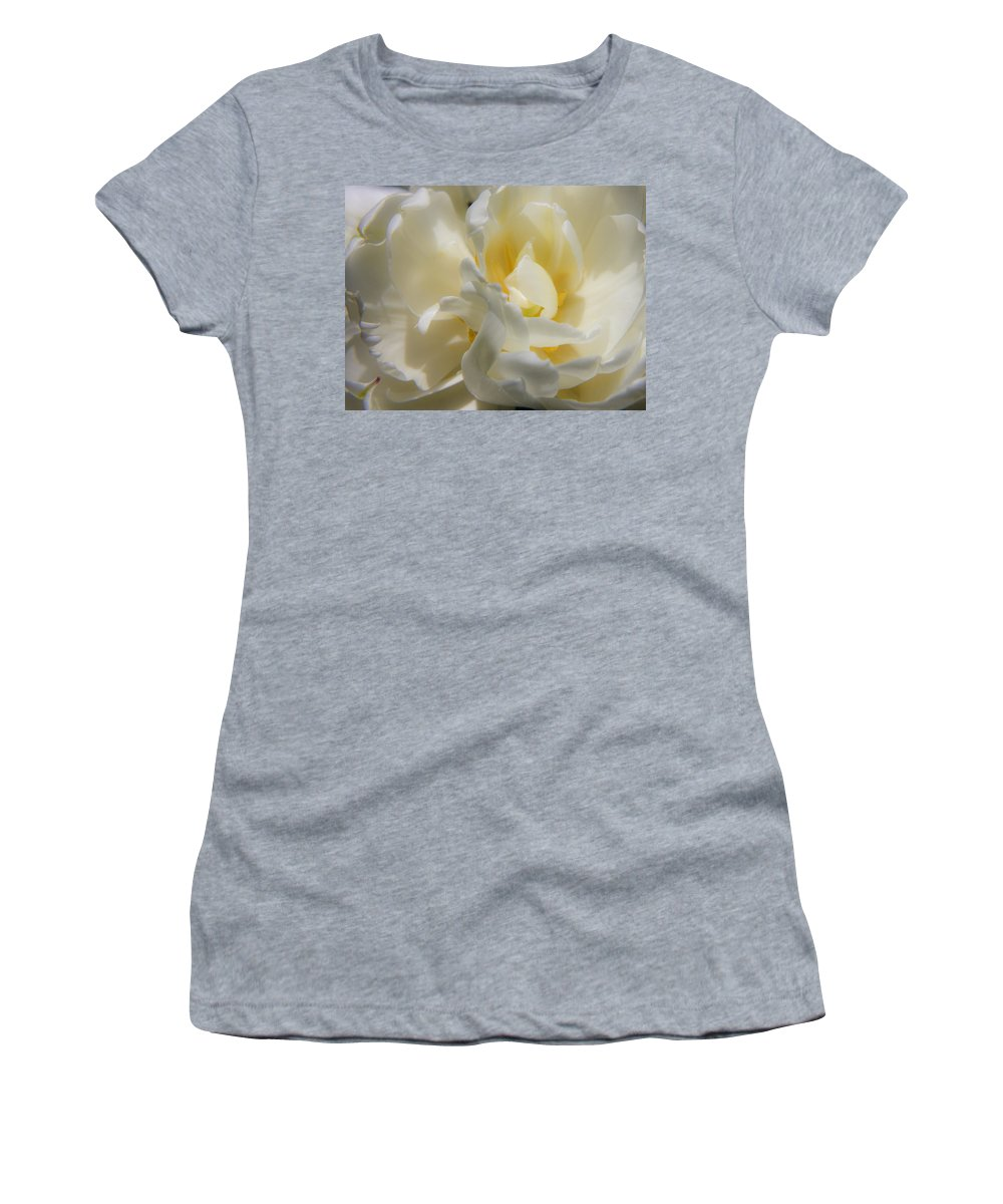 White Women's T-Shirt (Athletic Fit) featuring the photograph White Peony Tulip Detail by Teresa Mucha