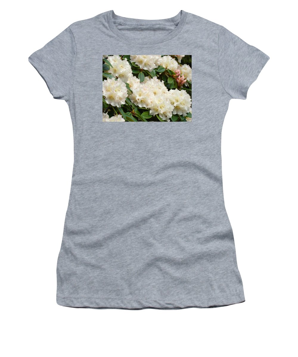 Rhodie Women's T-Shirt (Athletic Fit) featuring the photograph White Rhodies Landscape Floral Art Prints Canvas Baslee Troutman by Baslee Troutman