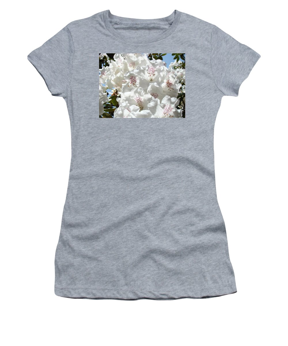 Rhodies Women's T-Shirt (Athletic Fit) featuring the photograph White Rhododendrons Flowers Art Prints Baslee Troutman by Baslee Troutman